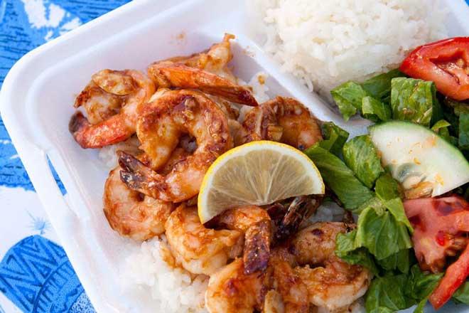 Hawaii, Essen, Garnelen Reis