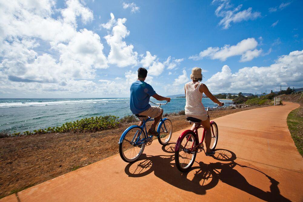 Paar Fahrrad Flitterwochen