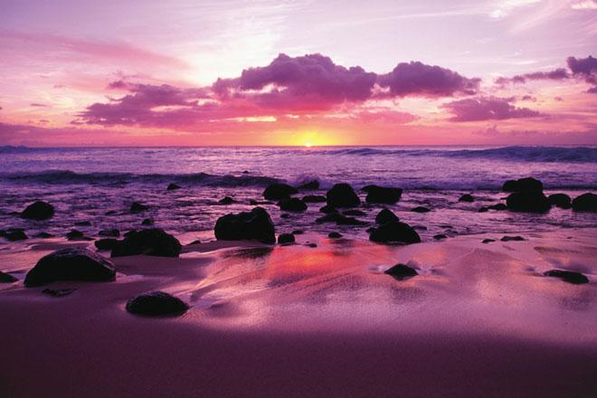 Sonnenuntergang am Strand von Molokai